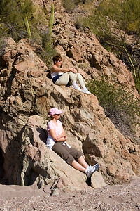 Safari Quest passengers Kathleen Aller and Kay Dummermuth take time out from a hike on Isla del Carmen, Sea of Cortez, Baja California Sur, Mexico.