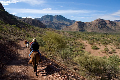Safari Quest passengers enjoy a morning burro ride through the mountainous countryside of Puerto Agua Verde, Sea of Cortez, Baja California Sur, Mexico.