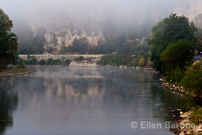 Mist shrouded chateau, Dordogne River, la Roque Gageac, France