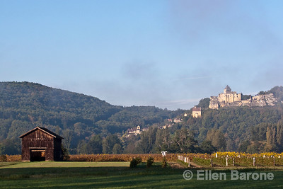Farmland and barn with hilltop Castelnaud in the distance, near la Roque Gageac, France.