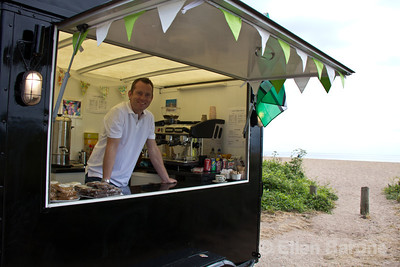 Friendly ice cream vendor, south Devon Coast, England, U.K.
