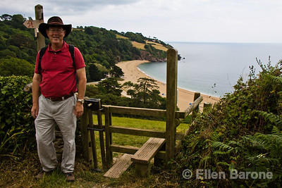 Wayfarer, Glen Sullivan, with Blackpool Sands beach, south Devon coastline, England, U.K.