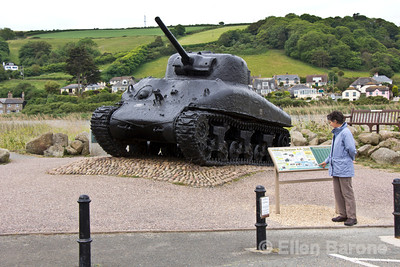 Sherman tank, Slapton Sands beach memorial, South Devon, England, U.K.