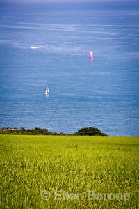 Sailboats, south Devon coastline and English Channel, England, U.K.