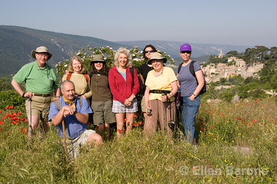 Wayfarers walking tour participants, Bonnieux, the Luberon, Provence, France, Europe