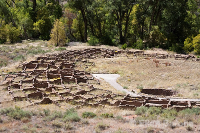 Pueblo ruins, Bandelier National Monument, Jemez Mountains, New Mexico.