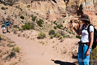 Hikers, photography, Chimney Rock trail,   Ghost Ranch, Abiquiu, New Mexico.