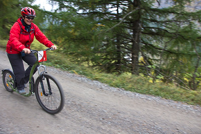 Kickbiking in the mountains above Zermatt, Switzerland.