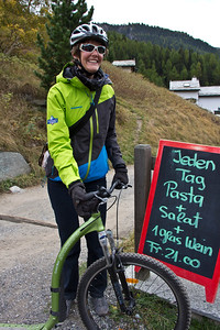 A wayside halt at one of the mountain restaurants is almost compulsory when kick-biking in Zermatt, Switzerland.
