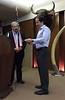 "Steve Gitlin receives medallian from Jeff Holmes<br /> ""Honoring Paul MacCready"" presentation<br /> May 12, 2016"