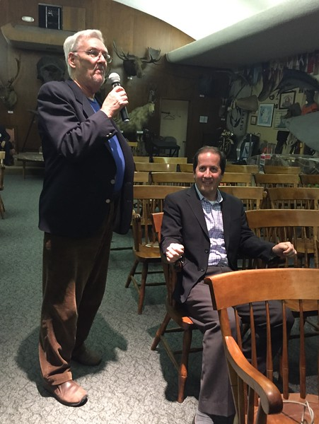 "Pierre Odier introducing Steve Gitlin, speaker<br /> ""Honoring Paul MacCready"" presentation<br /> May 12, 2016"