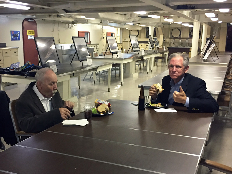 Guest members Jimmy Stewart and Michael Lawler.<br /> Dinner aboard the Battleship USS Iowa, Wardroom
