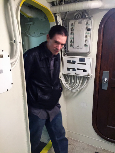 Chuck Jonkey clears knee knockers, aboard the Battleship USS Iowa.<br /> November 2016  board meeting venue.