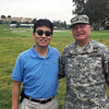 Kevin Lee with Borden, Vietnam War veteran who sustained serious leg injuries in battle and survived.<br /> Northern Trust Open, Riviera Country Club<br /> February 17, 2016