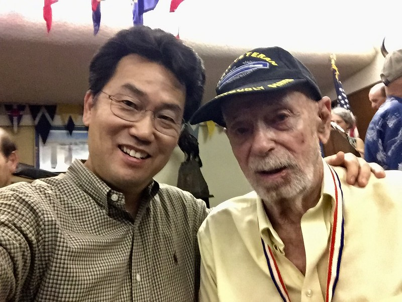 Kevin Lee with David Clark, Honorary Member of the Adventurers Club of Los Angeles