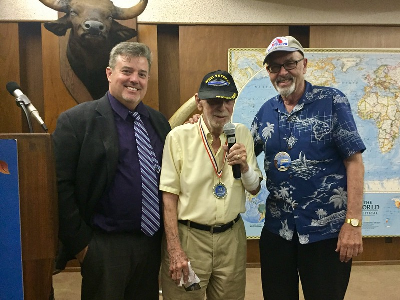 David Clark, Honorary Member of the Adventurers Club of Los Angeles, with Eric Streit and Steve Bein
