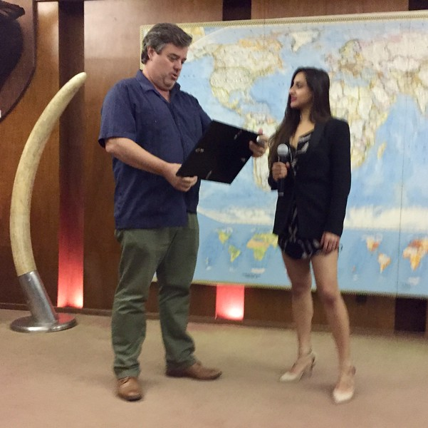 ACLA President Eric Streit presents Sarah Begum with certificate of appreciation.