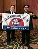 Member #1086, David Grober, engaged in Pacific marine research, returns an Expedition Flag #121 from Palau, Micronesia.