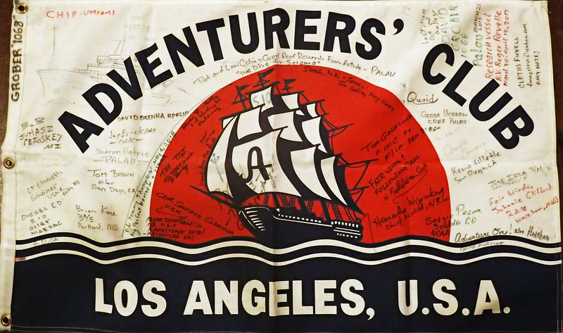 Expedition Flag #121 from Palau, Micronesia, returned by member #1086, David Grober.