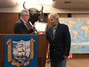 """Michael Lawler presents ACLA certificate to """"Mad"""" Mike Hughes <br /> Adventurers' Club<br /> February 7, 2019"""