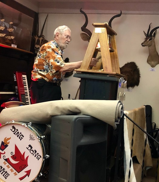 Bernie Harris rings the club bell<br /> Tiki Night<br /> March 21, 2019