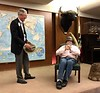 Roy Roush, WWII veteran, addresses the club and shows his helmet.<br /> ACLA 75th D-Day anniversary commemoration<br /> June 6, 2019