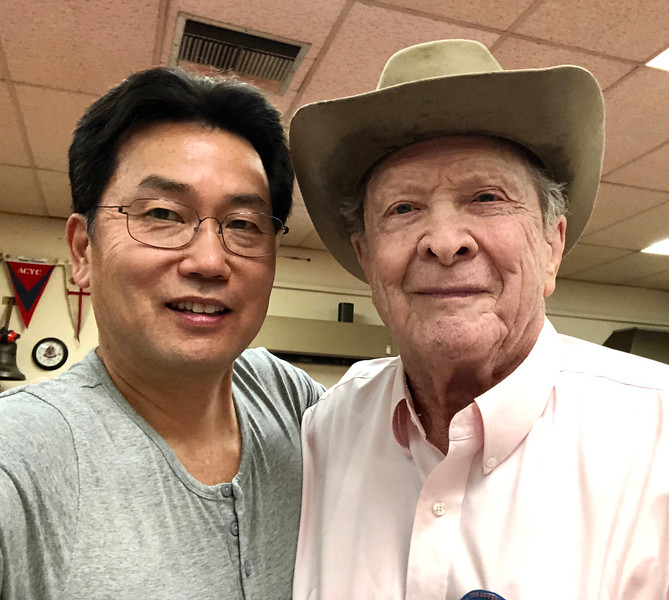 Roy Roush, WWII veteran, with Kevin Lee.<br /> ACLA 75th D-Day anniversary commemoration<br /> June 6, 2019
