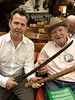Roy Roush, WWII veteran, with Neil Mandt, shows a 15th century sword he captured from Japanese officer. <br /> ACLA 75th D-Day anniversary commemoration<br /> June 6, 2019