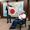 Roy Roush, WWII veteran, shows a Japanese offier's personal flag, which he captured.<br /> ACLA 75th D-Day anniversary commemoration<br /> June 6, 2019