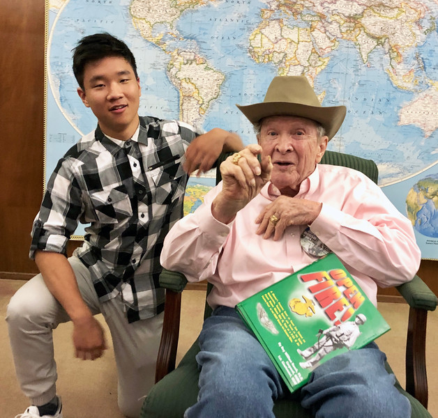 Roy Roush, WWII veteran, with Daniel Park, Air Force Academy cadet.<br /> ACLA 75th D-Day anniversary commemoration<br /> June 6, 2019