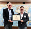 """Michael Lawler presents Neil Mandt with ACLA Certificate of Appreciation for his presentation of """"Augmented Reality""""<br /> May 9, 2019"""