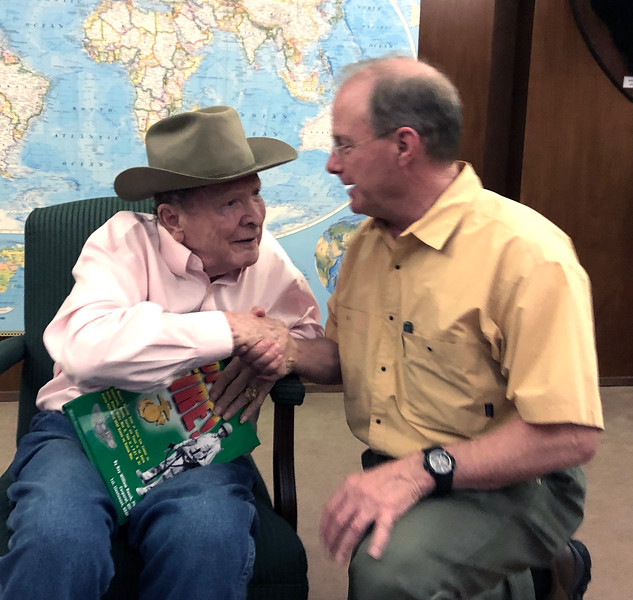 Roy Roush, WWII veteran, with Lance Miller.<br /> ACLA 75th D-Day anniversary commemoration<br /> June 6, 2019