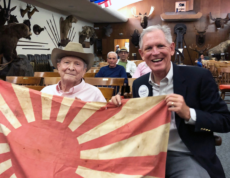 Roy Roush, WWII veteran, with Michael Lawler.<br /> ACLA 75th D-Day anniversary commemoration<br /> June 6, 2019