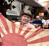 Roy Roush, WWII veteran, shows a Japanese regiment flag he captured.<br /> ACLA 75th D-Day anniversary commemoration<br /> June 6, 2019