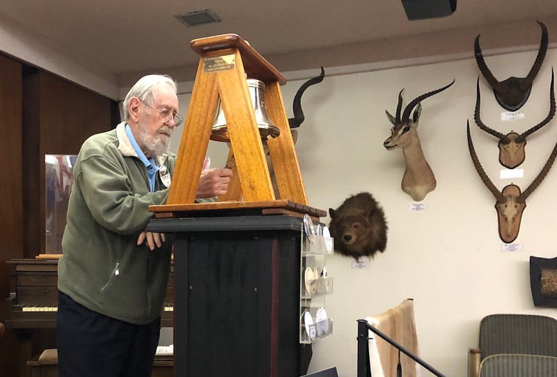 Bernie Harris rings the club bell<br /> 2nd Club Business Meeting<br /> November 7, 2019
