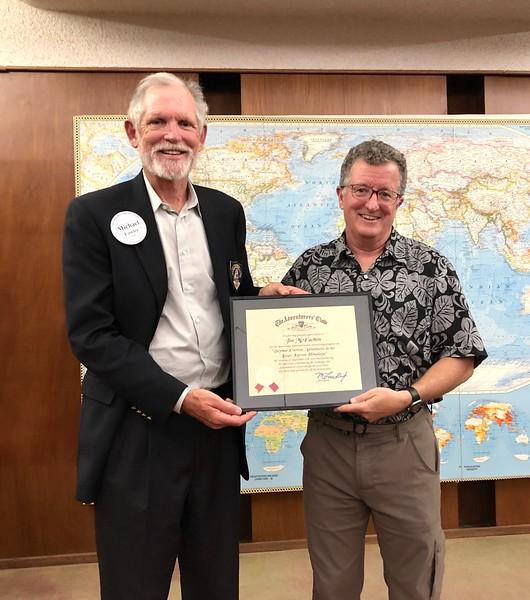 Jim McEachen, speaker, with ACLA president, Michael Lawler<br /> September 12, 2019