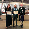 ACLA president Michael Lawler presents Certificates of Appreciation to speakers Mehgan Heaney-Grier and Brian Castner<br /> Night of High Adventure<br /> Bowers Museum, November 2, 2019
