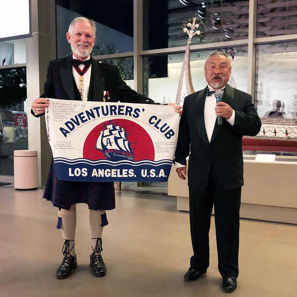 Danee Hazama returns Expedition Flag to president Michael Lawler<br /> Night of High Adventure<br /> Bowers Museum, November 2, 2019