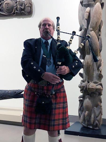 Andrew Scott, Scottish bagpiper<br /> Night of High Adventure<br /> Bowers Museum, November 2, 2019