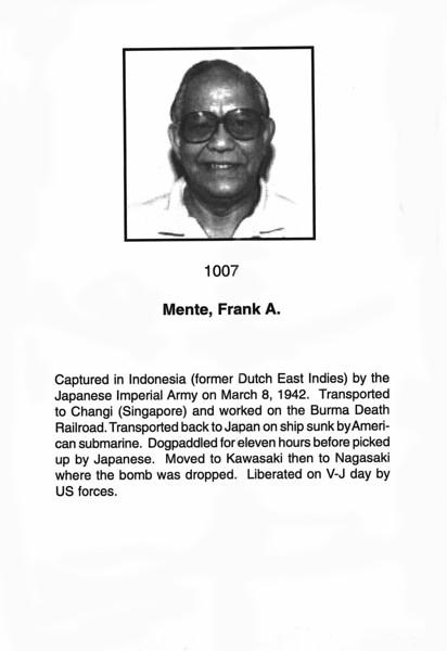 Mente, Frank A.