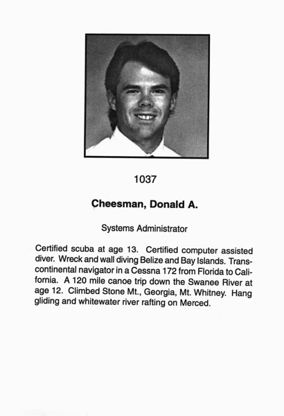 Cheesman, Donald A.