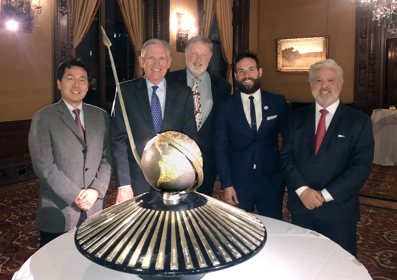 Kevin Lee, Michael Lawler, Ken Hudson, Matthew Nadu, Bill Price, standing behind the Howard Hughes Memorial Award, which is presented annually by the Aero Club of Southern California.  <br /> Annual Aero Club Dinner at the Jonathon Club, Los Angeles<br /> Feb. 13, 2109