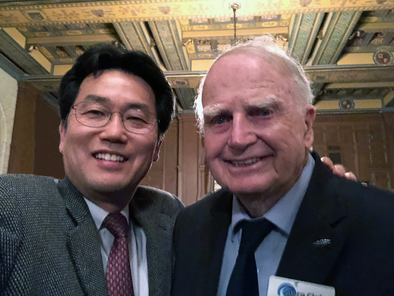 With Jack Norris, Voyager Technical Director.  Also, Board Member of the Aero Club of Southern California<br /> Jonathon Club, Los Angeles<br /> Feb. 13, 2109