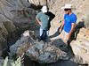 Shane Litten shows his discovery, a triceratops skull, to Scott Warner.<br /> Triceratops roamed North America about 68 million years ago.