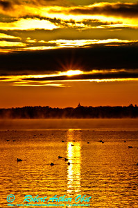Orange sunrise from a canoe over a misty Lake Mendota and the State Capitol of Madison Wisconsin from Pheasant Branch Conservany (USA WI Middleton)