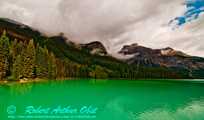 View from a Canoe on Emerald Lake southeast of Top Hat Peak near Field within Yoho National Park (CAN BC Field)