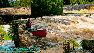 Photo collage of open canoeist Charles Frisk negotiating the gorgeous Dalles of the Wolf at a river flow of 744 CFS on the wild Wolf River Section 4 within Menominee Indian Nation or Menominee County  (USA WI Keshena)