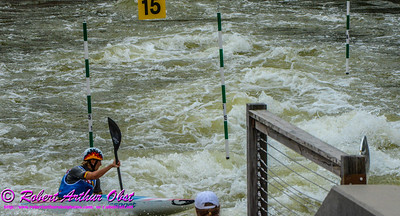 """Kayak Single WOMEN or K-1W Individual Bronze Medalist PFEIFER Melanie of Germany - FINAL Rank 3rd out of 52 K-1W competitors - during her FINAL run on 21 SEPT 2014 at the 2014 ICF 'Deep Creek 'World Championships at the Adventure Sports Center International site near Deep Creek Lake and McHenry MD USA"" (USA MD McHenry; Obst FAV Photos Nikon D800 Adventures in Paddlesport Competition Images)"