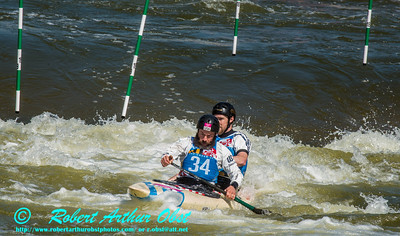 """CANOE DOUBLE or C-2 MEN  Individual HURD Eric and LARIMER Jeff of the USA - Final Rank 32 out of 38 C-2 teams - qualification run on 19 SEPT 2014 at the 2014 'Deep Creek' World Championships at the Adventure Sports Center International site near Deep Creek Lake and McHenry MD USA (USA MD McHenry; Obst FAV Photos Nikon D800 Adventures in Paddlesport Competition Images)"