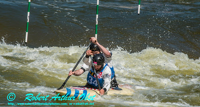 """""""CANOE DOUBLE or C-2 MEN  Individual HURD Eric and LARIMER Jeff of the USA - Final Rank 32 out of 38 C-2 teams - qualification run on 19 SEPT 2014 at the 2014 'Deep Creek' World Championships at the Adventure Sports Center International site near Deep Creek Lake and McHenry MD USA (USA MD McHenry; Obst FAV Photos Nikon D800 Adventures in Paddlesport Competition Images)"""